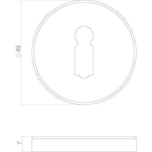Intersteel Rozet sleutelgat chroom mat - Technische tekening