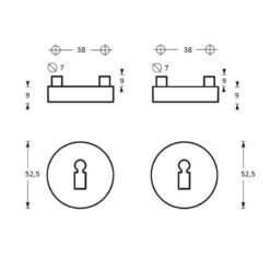 Intersteel Rozet sleutelgat nobile INOX geborsteld - Technische tekening