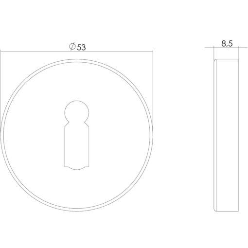 Intersteel Rozet sleutelgat rond verdekt INOX geborsteld - Technische tekening