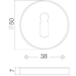 Intersteel Rozet sleutelgat rond verdekt Koper gelakt - Technische tekening