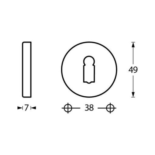 Intersteel Rozet sleutelgat rond verdekt chroom - Technische tekening