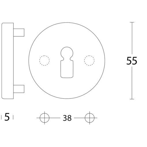 Intersteel Rozet sleutelgat rond verdekt kunststof INOX geborsteld - Technische tekening