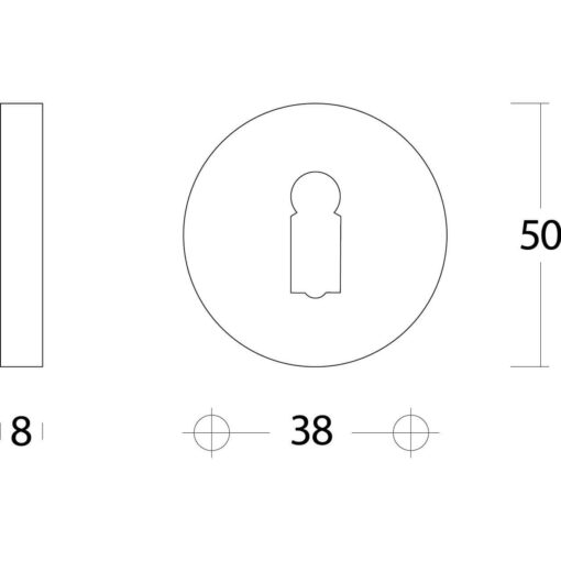 Intersteel Rozet sleutelgat rond verdekt massief nikkel - Technische tekening