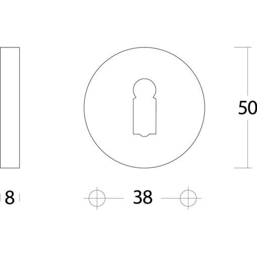 Intersteel Rozet sleutelgat rond verdekt nikkel mat - Technische tekening