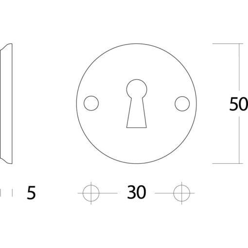 Intersteel Rozet sleutelgat schroefgat nikkel - Technische tekening
