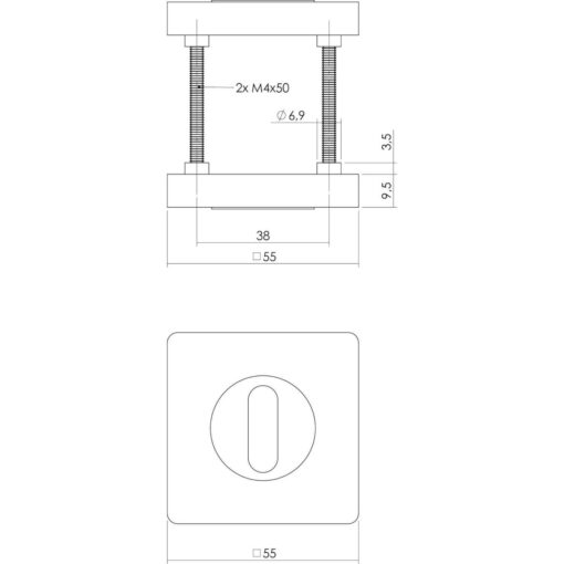 Intersteel Rozet sleutelgat verdekt vierkant chroom - Technische tekening