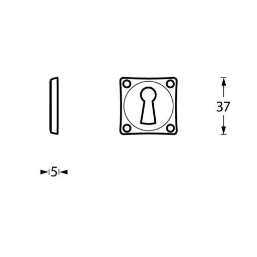 Intersteel Rozet sleutelgat vierkant nikkel - Technische tekening