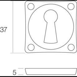 Intersteel Rozet sleutelgat vierkant nikkel mat - Technische tekening
