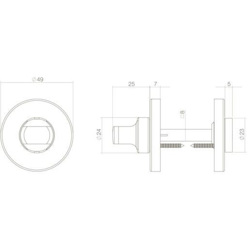 Intersteel Rozet toilet-/badkamersluiting 8 mm rond verdekt kunststof Koper gelakt - Technische tekening