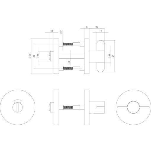 Intersteel Rozet toilet-/badkamersluiting INOX geborsteld deurdikte 28 mm - Technische tekening