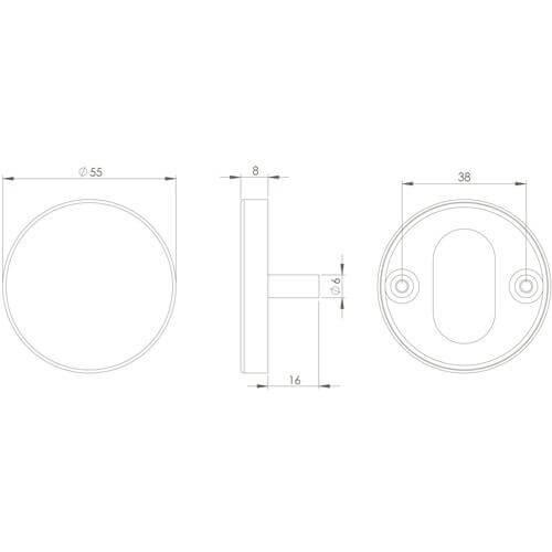 Intersteel Rozet toilet-/badkamersluiting INOX gepolijst - Technische tekening