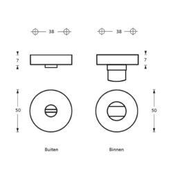 Intersteel Rozet toilet-/badkamersluiting Koper titaan PVD - Technische tekening