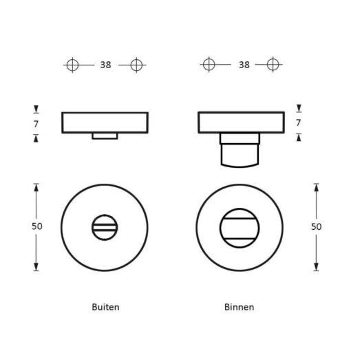 Intersteel Rozet toilet-/badkamersluiting antraciet titaan PVD - Technische tekening
