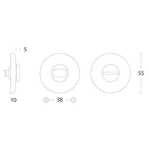 Intersteel Rozet toilet-/badkamersluiting bol rond Koper gelakt - Technische tekening