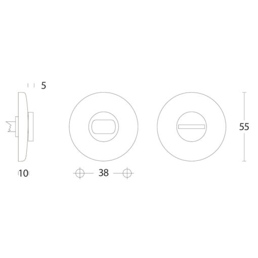 Intersteel Rozet toilet-/badkamersluiting bol rond chroom mat - Technische tekening