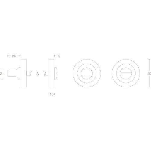 Intersteel Rozet toilet-/badkamersluiting chroom - Technische tekening