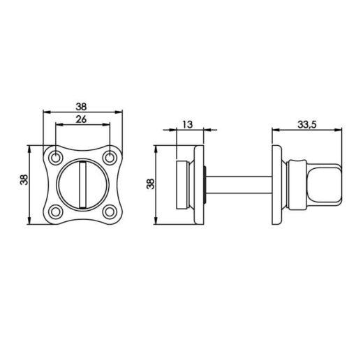 Intersteel Rozet toilet-/badkamersluiting klaverblad nikkel - Technische tekening