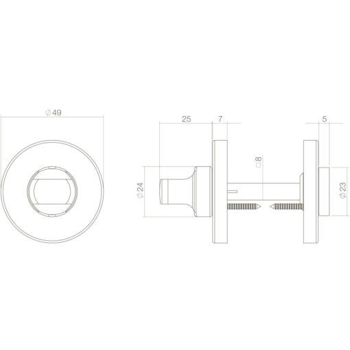 Intersteel Rozet toilet-/badkamersluiting rond Koper ongelakt - Technische tekening
