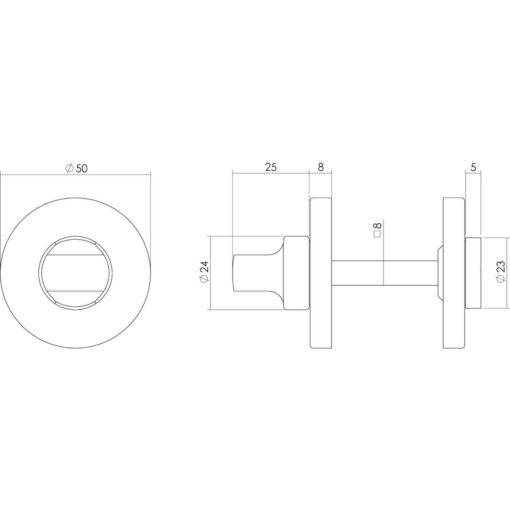 Intersteel Rozet toilet-/badkamersluiting rond chroom - Technische tekening