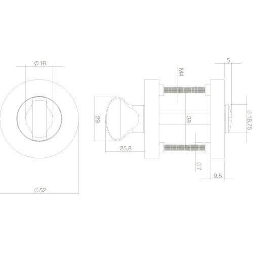 Intersteel Rozet toilet-/badkamersluiting rond chroom/nikkel mat - Technische tekening