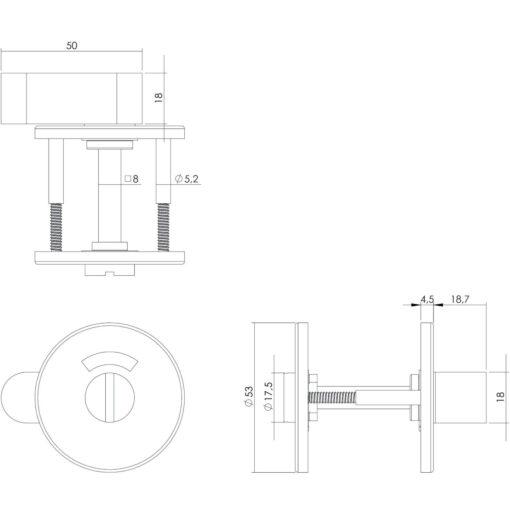 Intersteel Rozet toilet-/badkamersluiting rond plat INOX geborsteld - Technische tekening