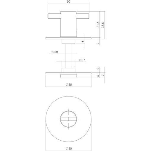 Intersteel Rozet toilet-/badkamersluiting rond plat zelfklevend 5 mm - Technische tekening