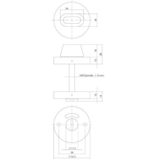 Intersteel Rozet toilet-/badkamersluiting rond verdekt INOX geborsteld 8 mm - Technische tekening
