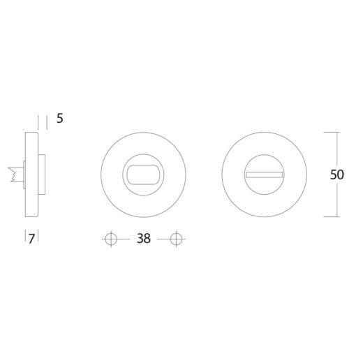 Intersteel Rozet toilet-/badkamersluiting rond verdekt Koper gebruineerd - Technische tekening