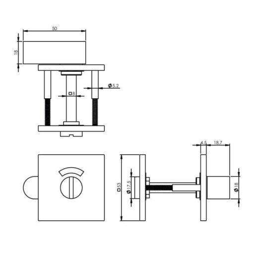 Intersteel Rozet toilet-/badkamersluiting vierkant INOX geborsteld mat zwart - Technische tekening