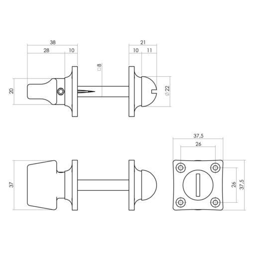 Intersteel Rozet toilet-/badkamersluiting vierkant basic nikkel mat - Technische tekening