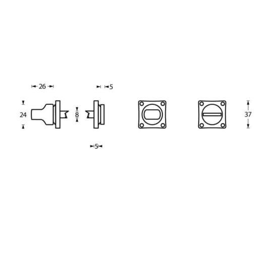 Intersteel Rozet toilet-/badkamersluiting vierkant chroom mat - Technische tekening