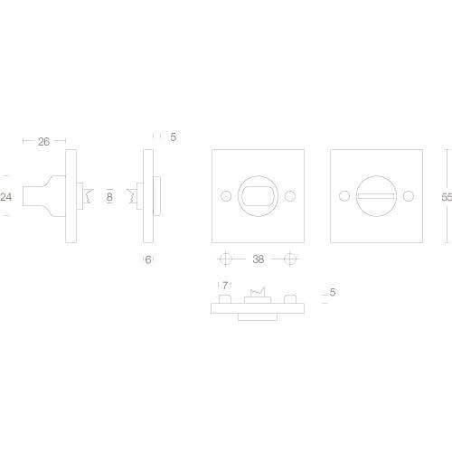 Intersteel Rozet toilet-/badkamersluiting vierkant groot chroom mat - Technische tekening