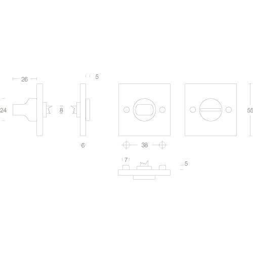Intersteel Rozet toilet-/badkamersluiting vierkant groot mat zwart - Technische tekening
