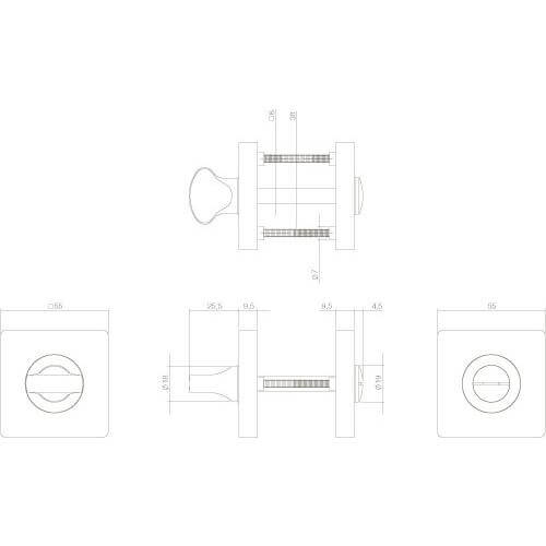 Intersteel Rozet toilet-/badkamersluiting vierkant mat zwart - Technische tekening