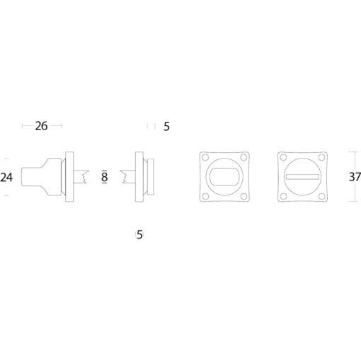 Intersteel Rozet toilet-/badkamersluiting vierkant nikkel mat - Technische tekening