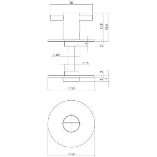 Intersteel Rozet toilet-/badkamersluiting zelfklevend INOX geborsteld - Technische tekening