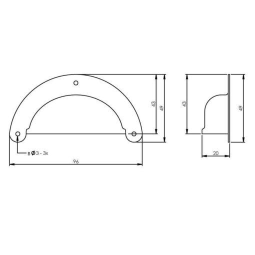 Intersteel Schelpgreep 96 mm mat zwart - Technische tekening