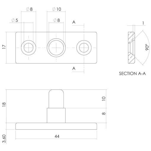Intersteel Stelpen Koper gelakt - Technische tekening