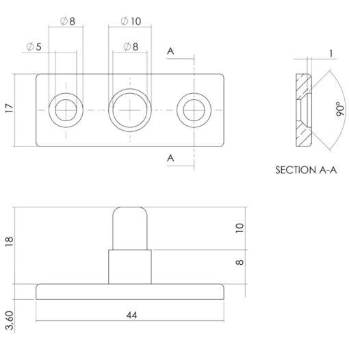 Intersteel Stelpen chroom mat - Technische tekening
