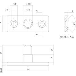 Intersteel Stelpen nikkel mat - Technische tekening