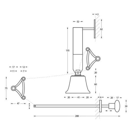 Intersteel Trekbel garnituur chroom - Technische tekening