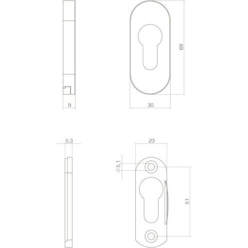 Intersteel Veiligheid-schuifrozet ovaal INOX geborsteld - Technische tekening