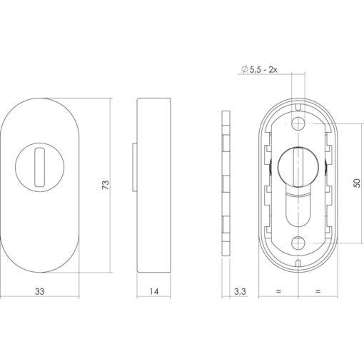 Intersteel Veiligheid-schuifrozet ovaal met sleufplaatje INOX geborsteld - Technische tekening