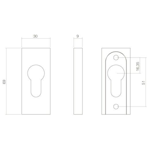 Intersteel Veiligheid-schuifrozet rechthoekig 10 mm INOX geborsteld - Technische tekening