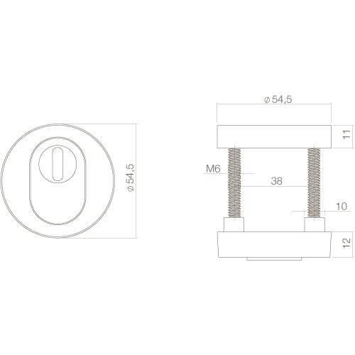 Intersteel Veiligheidsrozet SKG3 Cilinderbescherming Koper ongelakt - Technische tekening