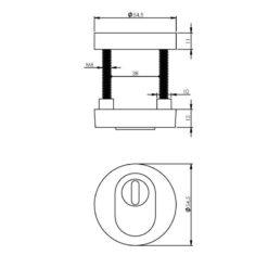 Intersteel Veiligheidsrozet SKG3 Cilinderbescherming Koper titaan PVD - Technische tekening