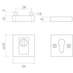Intersteel Veiligheidsrozet SKG3 met Cilinderbescherming mat zwart - Technische tekening