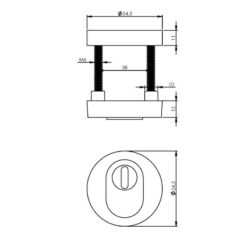 Intersteel Veiligheidsrozet SKG3 met Cilinderbescherming nikkel mat - Technische tekening