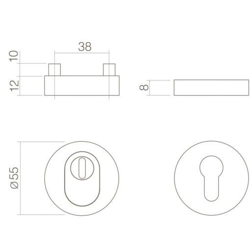 Intersteel Veiligheidsrozet SKG3 met Cilinderbescherming rond INOX gepolijst - Technische tekening