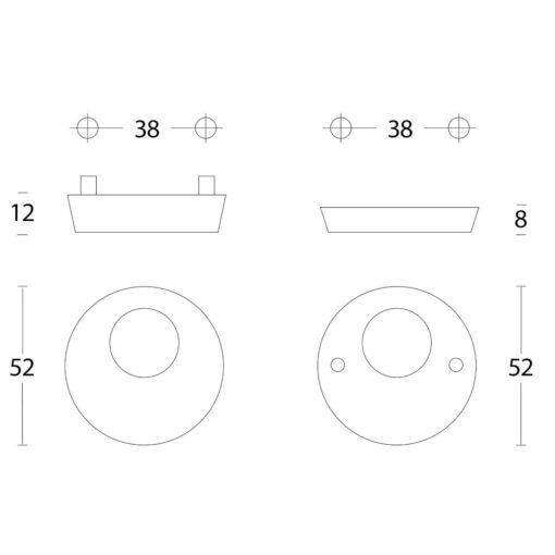 Intersteel Veiligheidsrozet SKG3 met rondcilindergat INOX geborsteld - Technische tekening